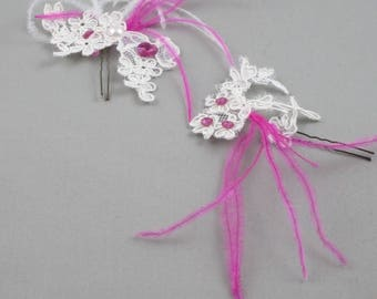 Spike hair ivory and Pink for the bride.
