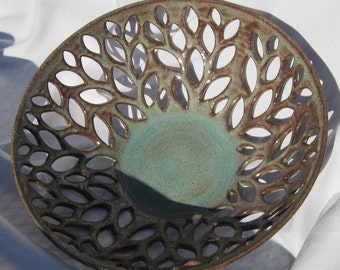 Fruit Bowl with Hand Carved Leaves Lucretia - Handmade Pottery