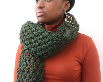 Big scarf, Gift for Girlfriend, Wool Scarf, Knitted Forest Green scarf,  Hand Knitted Scarf, Winter scarf, Unisex scarf, Oversized scarf