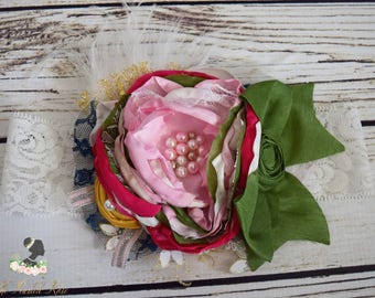 Handcrafted Couture Fall Olive Green and Pink Headband - Singed Satin Ostrich Feather Bow - Mustard and Navy Headband - Fancy Baby Headband