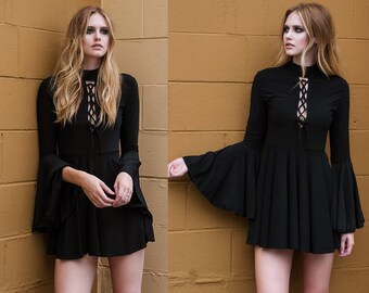 Black Laceup Bell Sleeve Mod Mini Dress XS S M L XL XXL