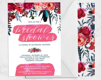 Red and Blue Bridal Shower Invite - Pink, Red, Blue, Teal, Navy Flowers - Watercolor Floral Bridal Shower Invitation - 5x7 Print at Home