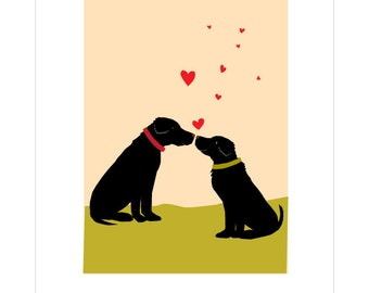 Labradors Valentine floating hearts greeting cards