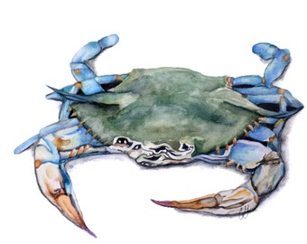 Custom Watercolor Blue Crab