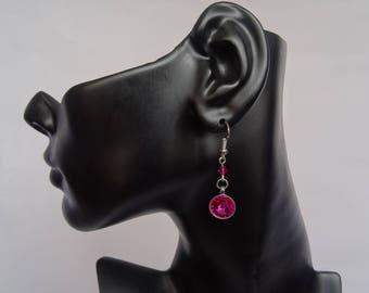 Pink Swarovski rivoli earrings
