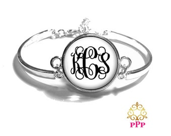 White Monogram Bracelet, Monogram Bangle, Monogram Jewelry, Bridesmaid Gift, Personalized Bracelet - Style 313