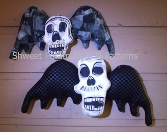 Gothic Flying Skulls  PDF ePattern Halloween INSTANT DOWNLOAD