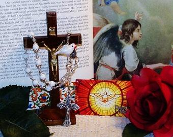 Holy Spirit One-Decade Catholic Rosary, First Holy Communion Gift for Girls, White Dove Rosary, Handmade Catholic Rosary, Instructions Incl.