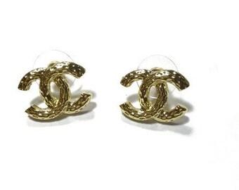 Gold CC Stud Earrings