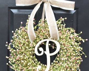SPRING WREATH SALE Spring Berry Wreath, Spring Decor, Spring Wreath, Pastel Easter Wreath, Easter Decor, Year Round Wreath, Pink, Green, Cre