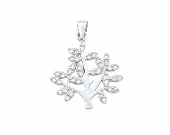 Tree of Life pendant 925 sterling silver plated white gold contromaglia 925 sterling silver plated in gold, diameter mm20