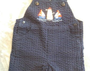 Adorable Vintage Sailor  Overall Shorts ~ Navy Blue with Sail boats and Light house 6 /9 Months