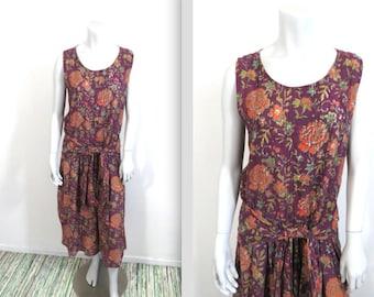 Vintage 70s 80s Anokhi Drop Waist Indian Block Print Dress M