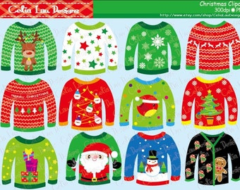 Ugly Christmas Sweaters Clipart for Personal and Commercial Use