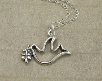 Dove with Olive Branch Necklace, Silver Peace Dove Charm on a Sterling Silver Cable Chain