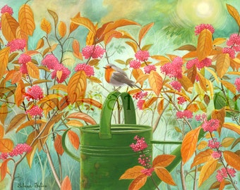 """Floral print fine art, from my gouache """"Robin in the Sun of November"""", Flower painting, art, green, pink, orange, painting, Robin"""