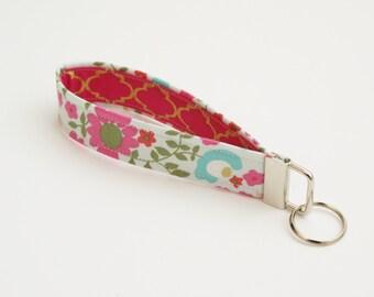 Pink, Gold, and Aqua Floral Fabric Key Fob - 5 Inch Key Ring - Keychain - Cute Fob - Wristlet Loop - Bridesmaid Gift - Short Wrist Lanyard