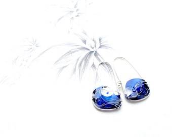 Blue Sea Earrings. Blue Earrings. Sterling Silver Earrings. Waves Earrings. Summer Jewelry. Wire Jewelry. Unique Earrings. Original Jewelry.