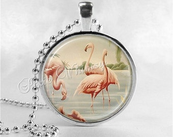 FLAMINGO Necklace, Flamingo Pendant, Flamingo Jewelry, Flamingo Charm, Pink Flamingos, Bird Jewelry, VIntage Flamingo