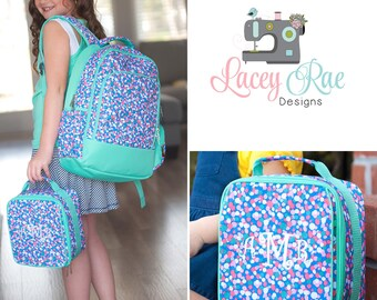 Girls confetti Personalized Backpack, Lunchbox, and pencil pouch, preschool backpack, School Age Backpack, Monogrammed, purple and mint