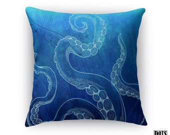 THROW PILLOW - Octopus watercolor throw pillow blue decorative pillow Octopus Pillow in Ocean Blue indoor / outdoor Decorative Throw Pillow