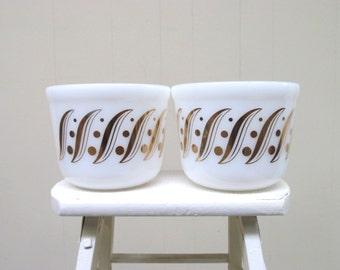 Vintage 1960s Milk Glass Serving Bowls / Set of Two