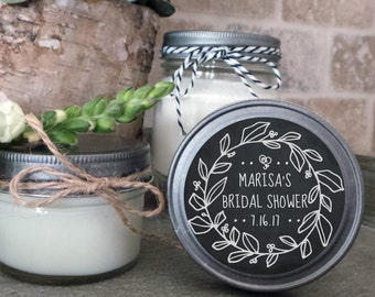 Soy Candle Wedding Favors - Set of 12 - 4 or 8 oz  - Wedding Favor Candles Laurel Wreath - Personalized Wedding Favors/Shower Favors