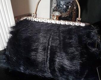 Women black faux fur clutch purse evening bag