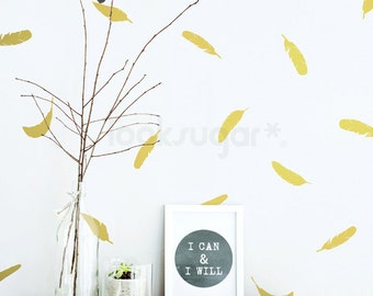 Feather Decals. Baby Nursery Wall Decal. Feather Wall Pattern Decals- Feather Wall Decals - Feather Sticker - AP0037NF