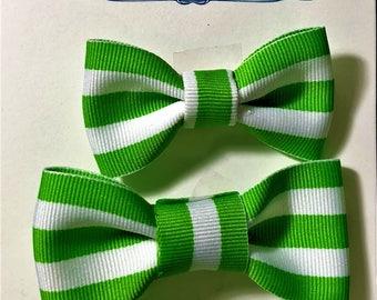 3 Green and White stripe Hair Bow