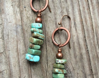 Turquoise earrings, boho jewelry earrings, southwestern jewelry, western jewelry, turquoise dangle earrings, copper jewelry earrings