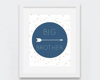 Big Brother Art Print, Arrows Print, Little Boys Room Decor, Modern Nursery Wall Art, Confetti Print, Printable Art, Big Brother Decor