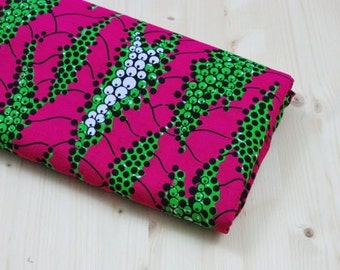 Flower African Fabric By the Yard, Fuchsia Printed Cotton Canvas Fabric with Flowers,Tribal Print Fabric with Green and White Flowers.Cod.32