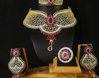 American Diamond AD CZ Gold Plated Bollywood Style Wedding Necklace Bridal Set Traditional Indian