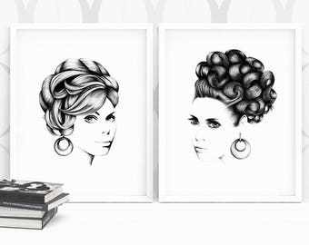 "Original hand drawn art print collection - 2 x A4 ""Ava & Grace"""