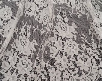 Ivory lace fabric, French lace, Chantilly lace, Wedding lace, Bridal lace, Evening dress lace, Lingerie lace, fabric by the yard SA7989