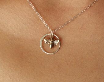 Bee Necklace, Pendant Necklace, silver, circle necklace, bridesmaid gift, pendant, bridal, necklace, yoga, spiritual