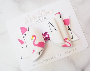 Flamingo Hair Bow, Cute Print Hair Bow, White Hair Clip, Pink Hair Bow, Flamingo Clip, Ponytail Hair Bow, Fashion Bow, Summer Hair Bow