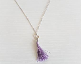 Dainty Tassel Necklace in 16k Silver/Lavender