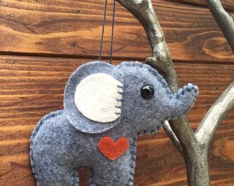wool felt elephant christmas ornament, keychain, mobile attachment, car mirror ornament, plush toy / stuffie - cloudy day