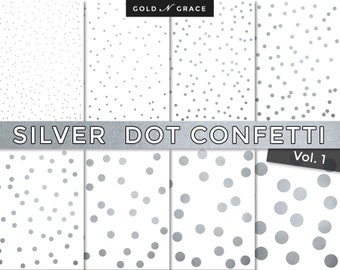 Silver Digital Paper, Silver Scrapbook Paper Pack, Silver Metallic, Instant Download Silver Paper, Silver Confetti, Silver Backgrounds