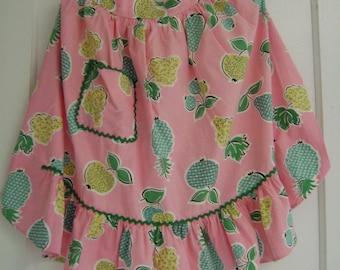 vintage pink fruit half apron