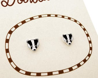 Badger Earrings, Badger Jewelry, Tiny Earrings, Badger Jewellery, Woodland Animal Earrings, Woodland Animal Jewelry, Shrink Plastic