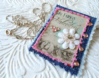 "My Funny Valentine shabby chic fabric pendant necklace on 925 silver 28"" long chain, converts to a brooch JN 1"