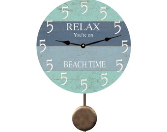 Five O'Clock Beach Time Pendulum Clock