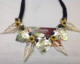 Carved Mother Of Pearl Shells Necklace. Perfect For Preteen, Teens & Adults.
