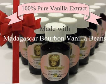 homemade pure vanilla extract handcrafted party favor vanilla beans madagascar gift basket bourbon 1 oz bottles baking  sweets cooking