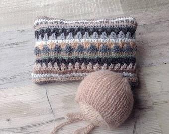 SUMMER SALE! Crochet Posing pillow and knit Bonnet, Striped crochet pillow, Knit hat, Set, Handmade, Ready to ship