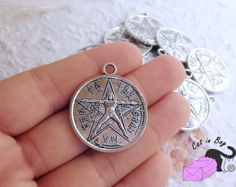 Tetragrammaton etsy 2 charms pendants with tetragrammaton 32x28 mm antique silver tone n1 38 aloadofball Choice Image
