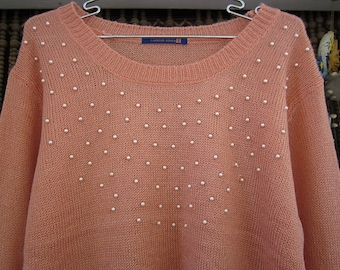 Peach Knit Sweater Adorned with (Faux) Pearls, Vintage - Medium to Large